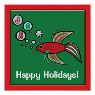 Betta Fish at Christmas Bubbles of Joy Poster