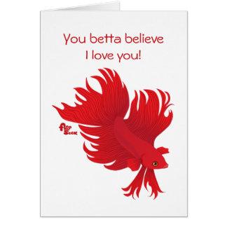 Betta Fish Valentine's Day Card