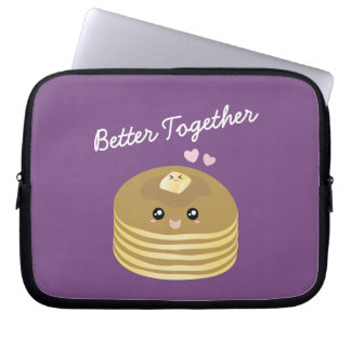 Better Together Cute Butter Pancakes Funny Foodie Laptop Sleeve