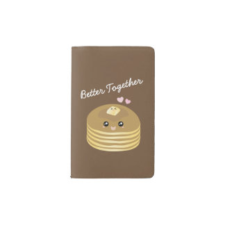Better Together Cute Pancakes Butter Funny Foodie Pocket Moleskine Notebook