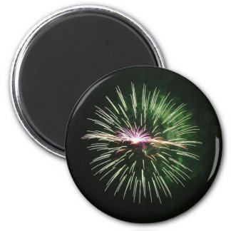 Better wishes in green of fireworks - 6 cm round magnet