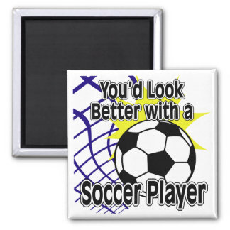 Better with a Soccer Player Square Magnet