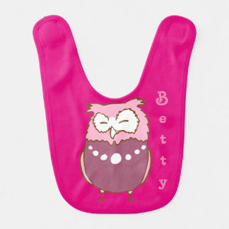 Betty owl baby bib
