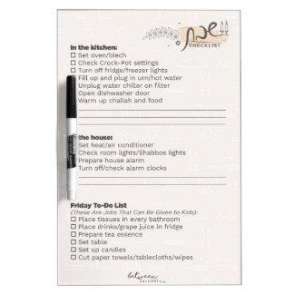 Between Carpools Shabbos Checklist Dry Erase Board