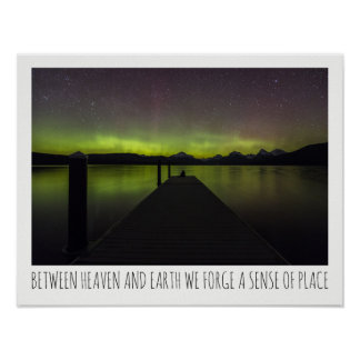 Between Heaven And Earth Aurora Borealis Poster