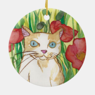 Between the Poppies little cat Ornament