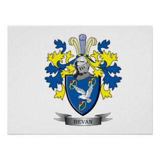 Bevan Family Crest Coat of Arms Poster