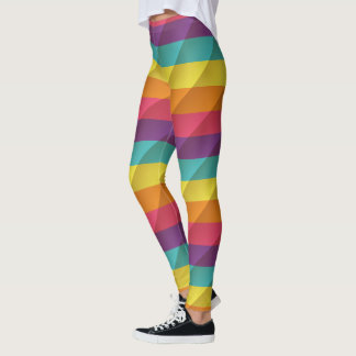 Beveled Texture Raibow Leggings