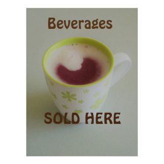 'Beverages Sold Here' Sign. Customizable Poster