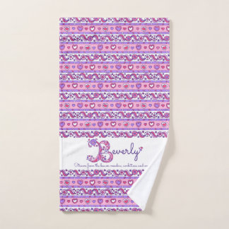 Beverley name meaning hearts letter B towels