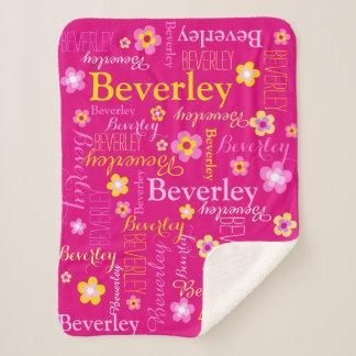 Beverley pink yellow girls name flower blanket
