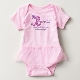 Beverlie girls B name meaning monogram baby romper Baby Bodysuit