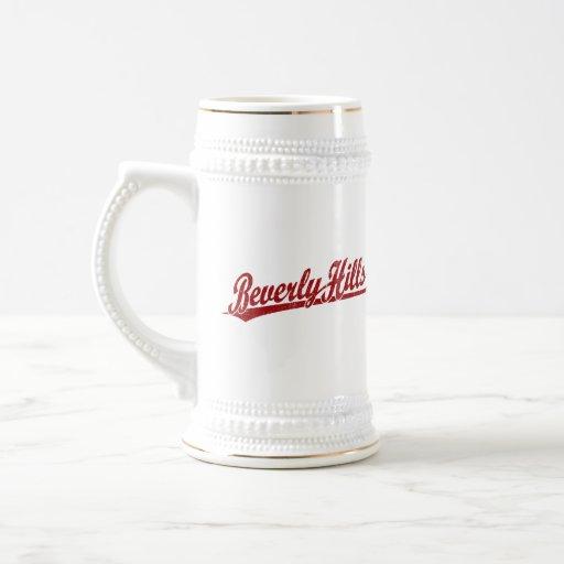 Beverly Hills script logo in red Coffee Mug