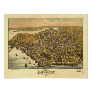 Beverly Massachusetts 1886 Antique Panoramic Map Poster