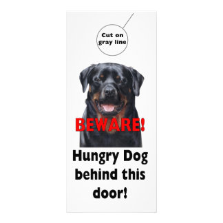 BEWARE Door hanger Warning sign Dog Pet sign Rack Card