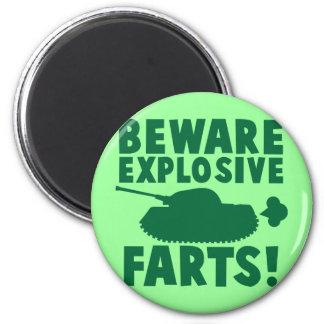 Beware EXPLOSIVE FARTS! 6 Cm Round Magnet