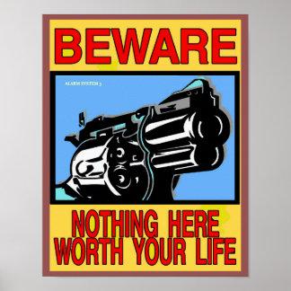 BEWARE, GUN OWNER SIGN POSTER