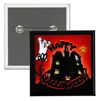 Beware! Haunted House - Enter at Your Own Risk! 15 Cm Square Badge