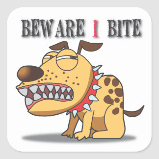 Beware I Bite Dog Sticker