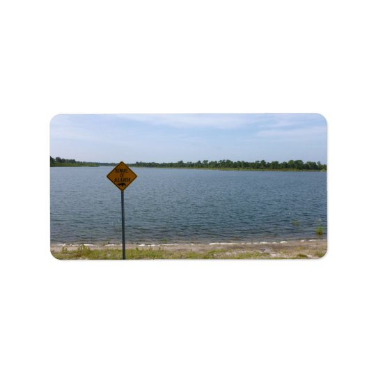 Beware of Alligator Sign by pond Label