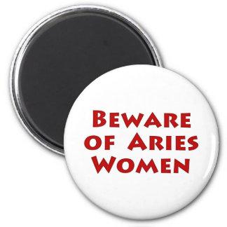 Beware of Aries 6 Cm Round Magnet