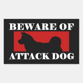 Beware of Attack Dog - Akita Rectangular Sticker