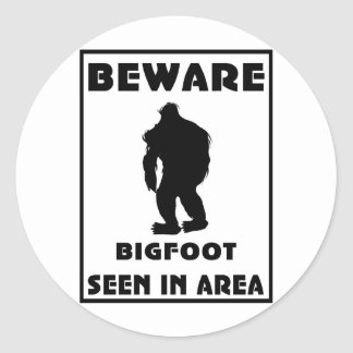 Beware of BigFoot Poster Round Sticker