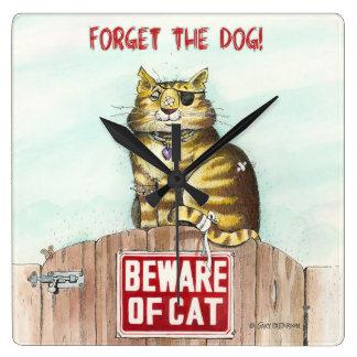 Beware of Cat Square Wall Clock