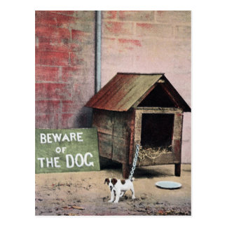 Beware of dog sign with small dog postcard