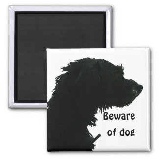 Beware of Dog Square Magnet