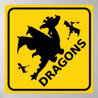 Beware of Dragons Warning Sign