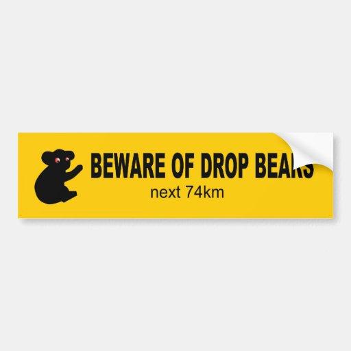 Beware of Drop Bears Funny Aussie Bumper Sticker