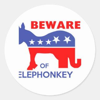 BEWARE OF ELEPHONKEY - activism/libertarian/usa Round Stickers