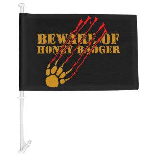 Beware of honey badger car flag
