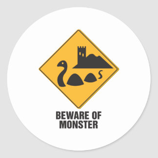 Beware Of Loch Ness Monster Classic Round Sticker