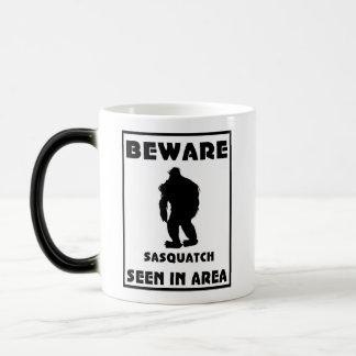 Beware of Sasquatch Poster 11 Oz Magic Heat Color-Changing Coffee Mug