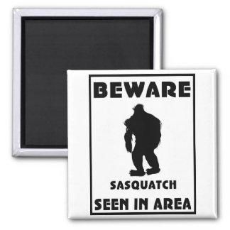 Beware of Sasquatch Poster Square Magnet