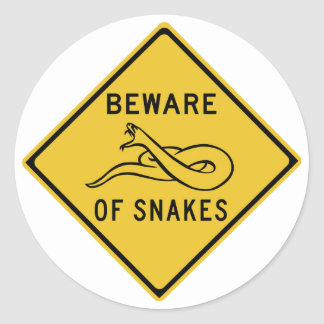 Beware of Snakes, Traffic Warning Sign, Australia Round Sticker