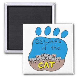 Beware of the Cat Paw Print Magnet