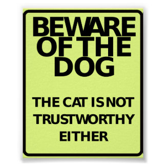 Beware Of The Dog (Funny Poster) Poster