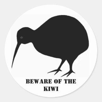 Beware of the Kiwi Round Sticker