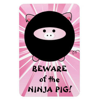 Beware of the Ninja Pig on Pink Rectangular Photo Magnet