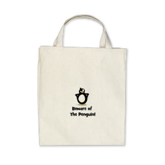 Beware of the Penguin Canvas Bags