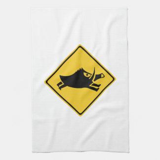 Beware of Wild Boars, Traffic Sign, Japan Tea Towel
