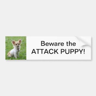 Beware the Attack Puppy Bumper Sticker