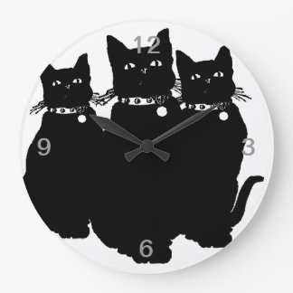 Beware the Black Cat Large Clock