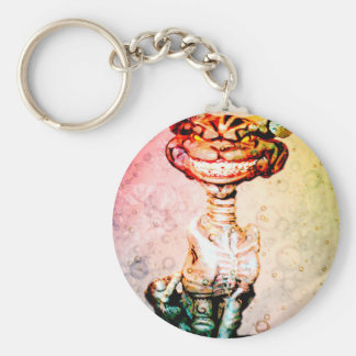 BEWARE THE CHESIRE GRIN BASIC ROUND BUTTON KEY RING