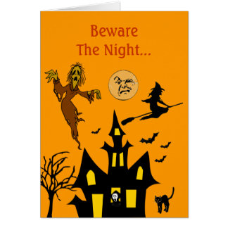 Beware The Night Spooky Halloween Haunted House Card