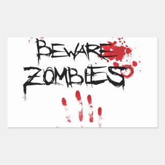 Beware Zombies Rectangular Sticker