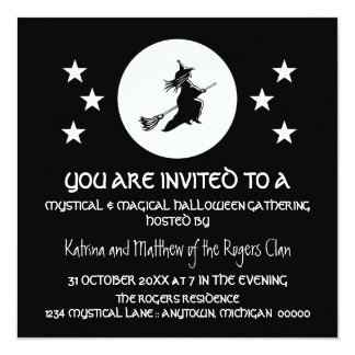 Bewitching Halloween Party Invite, Black and White 13 Cm X 13 Cm Square Invitation Card